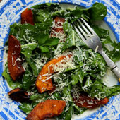 Maple roasted squash tossed with greens and parmesan