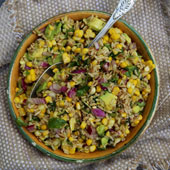 Barley, avocado and corn salad